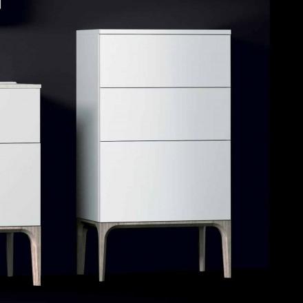 Cabinet de baie modern cu 3 sertare din lemn lăcuit Amber, fabricat în Italia