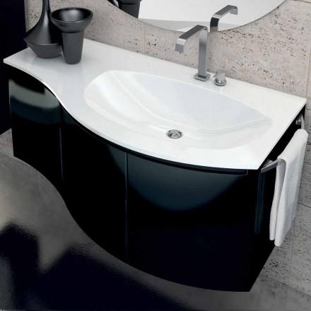 Cabinet modern de baie cu chiuvetă cu trei uși, din lemn lăcuit negru Gioia