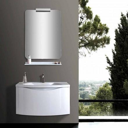 Dulap de baie modern suspendat alb cu chiuvetă, raft, oglindă LED - Michele