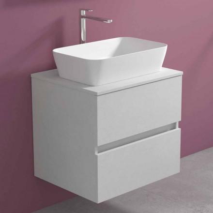 Dulap suspendat pentru baie cu lavoar dreptunghiular pe blat, design modern - Dumbo