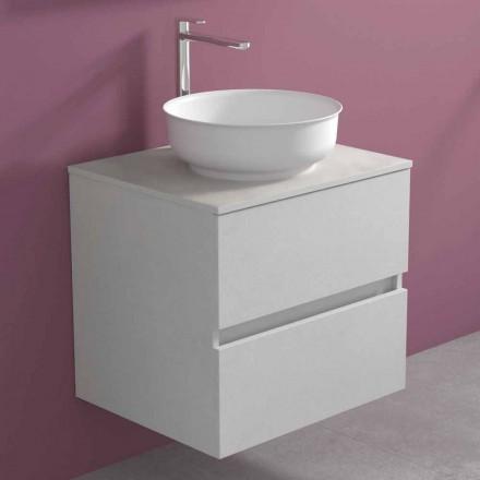 Dulap suspendat pentru baie cu chiuvetă rotundă pe blat, design modern - Dumbo