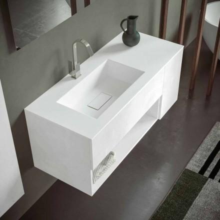 Dulap suspendat pentru baie cu chiuvetă integrată, design modern, 4 finisaje - Pistillo