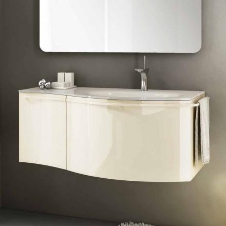 Dulap modern de baie suspendat cu chiuvetă din lemn de culoare bej Gioia 1