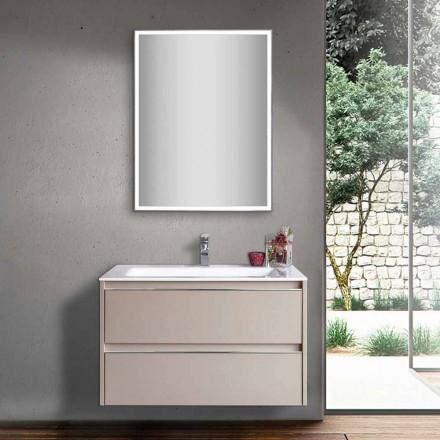 Lavoar pentru baie Dove Grey din lemn și mineralmarble cu oglindă LED - Alfonso