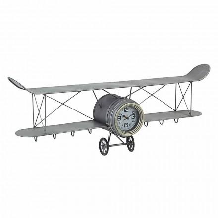 Ceas de perete în formă de avion din oțel și sticlă Homemotion - Plano