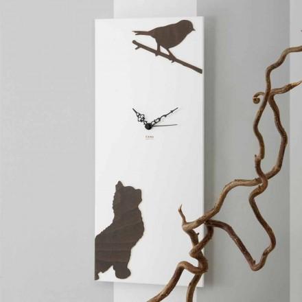 Ceas de perete alb cu decorațiuni animale din lemn Design modern - suspans