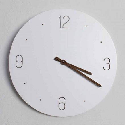 Ceas de perete cu design clasic din lemn tăiat cu laser rotund alb - Jovial