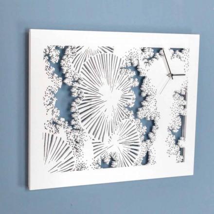 Ceas de perete design din lemn alb sau colț dreptunghiular - Artificio