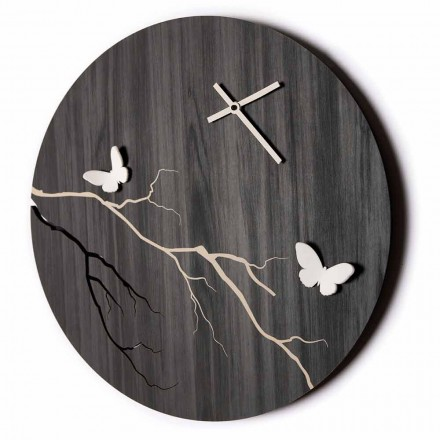 Ceas de perete cu design rotund din lemn gravat cu laser și fluturi 3D - Farfo