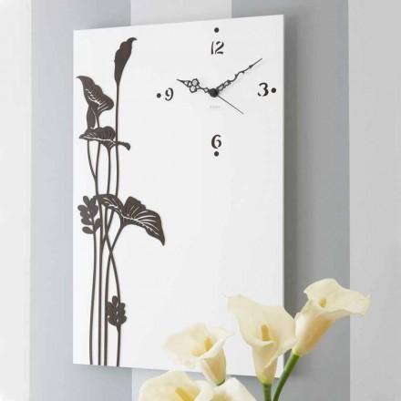 Ceas de perete modern, dreptunghiular, din lemn cu design decorat alb - Croco