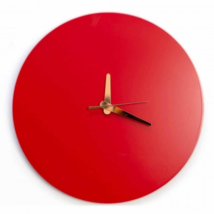 Ceas de perete roșu cu design rotund italian și modern în lemn - Callisto