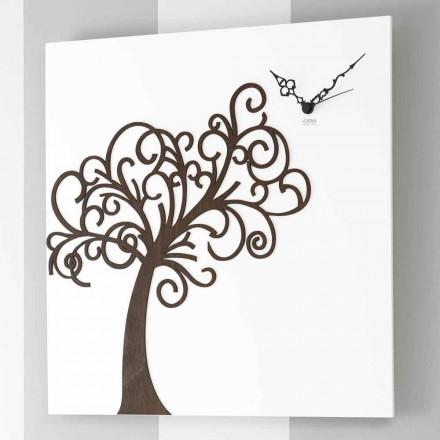 Ceas de perete din lemn de design pătrat alb cu copac - Alberoedenia