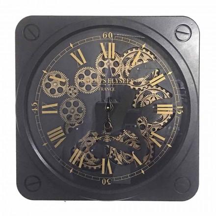 Ceas de perete de design vintage în formă de oțel pătrat Homemotion - Curzio