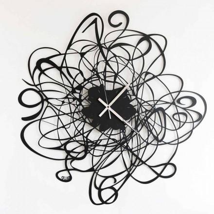 Ceas de perete cu design modern din fier negru sau alb fabricat în Italia - Baldo