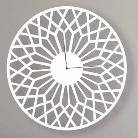 Ceas de perete cu design mare și modern în lemn rotund colorat - Dandalo