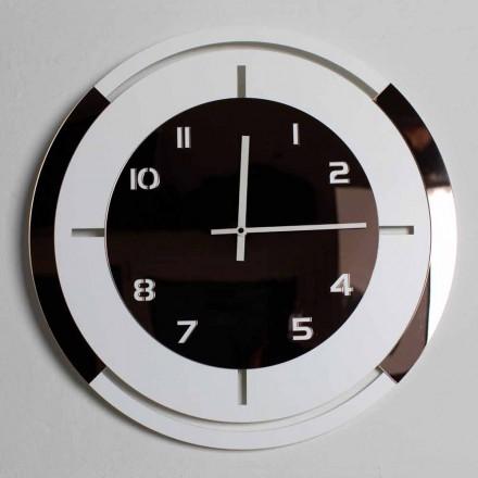 Ceas de perete în decorațiuni moderne din lemn alb și bronz - Mavia