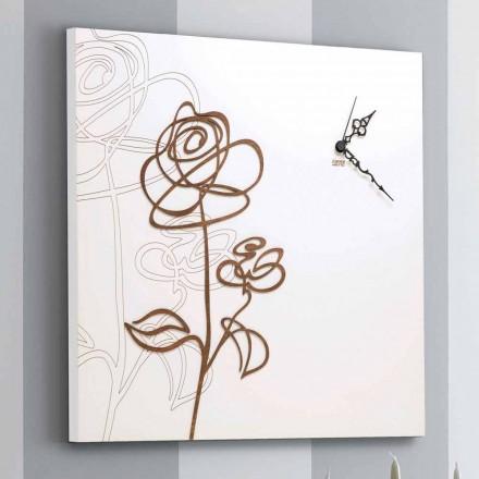 Ceas de perete din lemn pătrat alb cu decorațiuni moderne de trandafiri - bulgărele