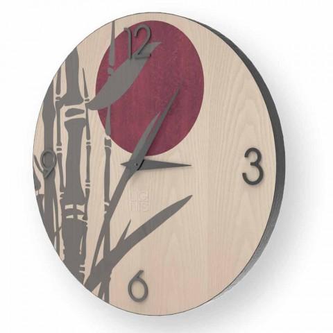 Atina ceas de perete în lemn decorat, design realizat în Italia