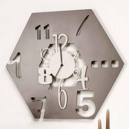 Ceas de perete modern din lemn cu design hexagonal - poliedru