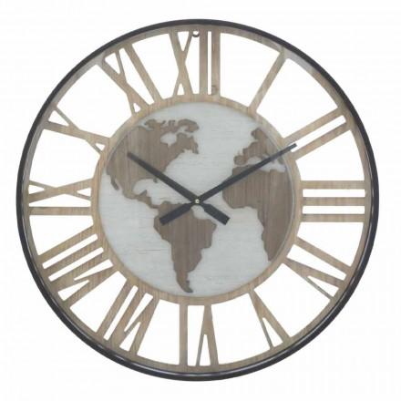 Ceas de perete rotund Diametru 60 cm Modern în fier și MDF - Arnela