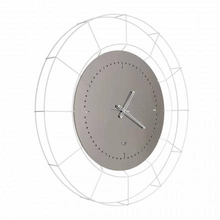 Ceas de perete modern cu oglindă din oțel alb fabricat în Italia - Adalgiso