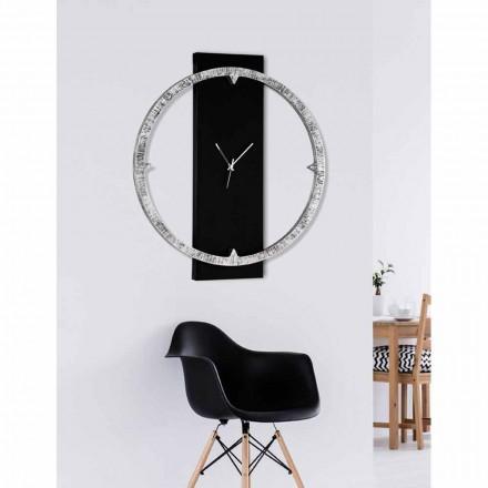 Ceas de perete decorat manual cu materiale fabricate în Italia Agostino
