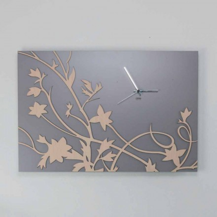 Ceas de perete modern cu design dreptunghiular din lemn decorat - Galliu
