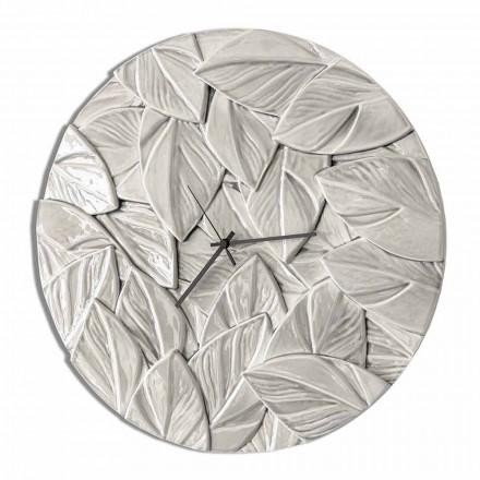 Ceas de perete rotund din ceramică modernă, realizat în Italia - Fogliao