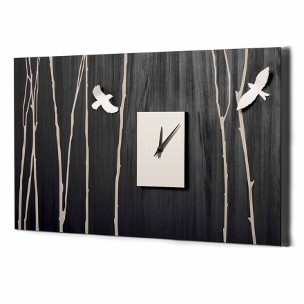 Ceas de perete din lemn cu decorațiuni tridimensionale Made in Italy - Forrest