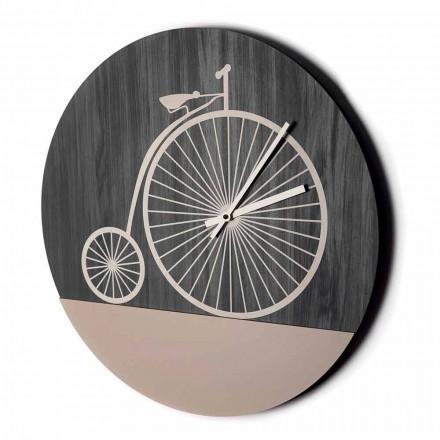 Ceas de perete design din lemn rotund în 2 finisaje, fabricat în Italia - Byko