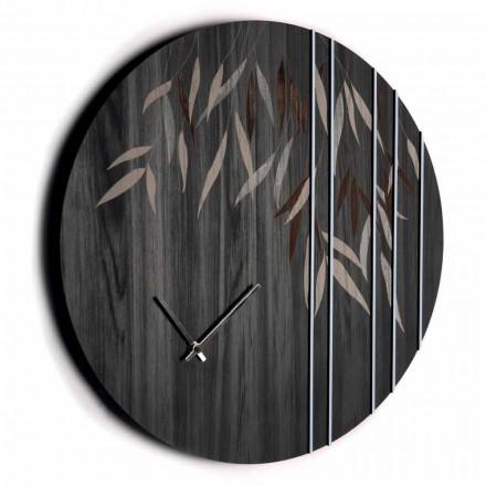 Ceas de perete din lemn de stejar sau tablă rotundă cu design gravat cu laser - Kanno