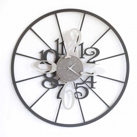 Ceas de perete circular circular din două tonuri din fier realizat în Italia - Calipso