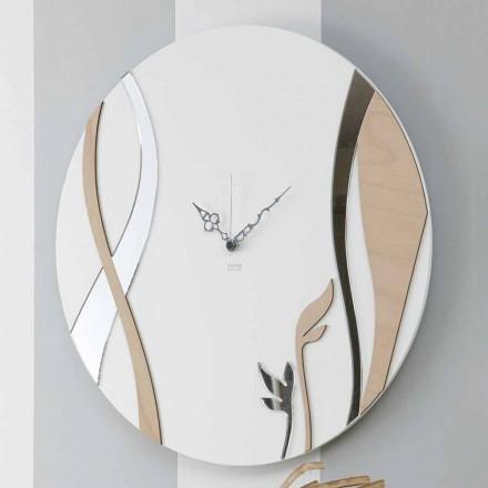 Ceas de perete modern și rotund, cu design din lemn decorat - Armonie