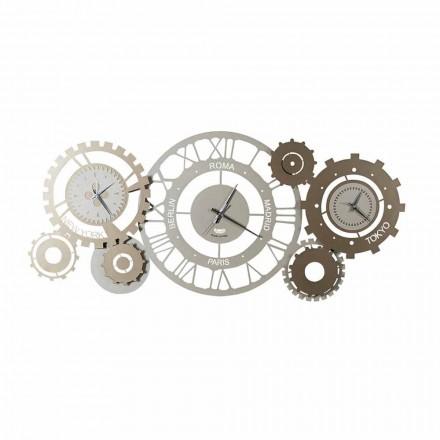Ceas de perete modern din fier cu trei Fusi fabricat în Italia - mecanic