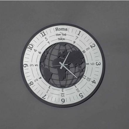 Ceas de perete modern din fier negru sau ardezie fabricat în Italia - Lumea