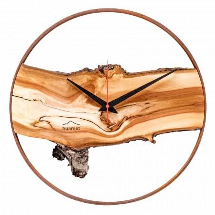Ceas de perete rotund din lemn masiv de mere fabricat în Italia - Sirmione