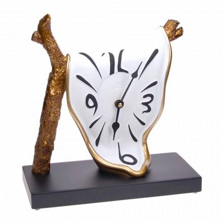 Ceas de masă cu design modern în rășină pictată manual Made in Italy - Cyan