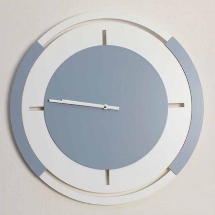 Ceas de perete rotund clasic în alb și lemn Avio - Beppe