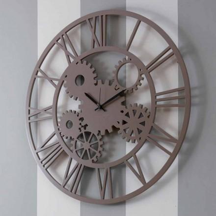 Ceas de perete mare și rotund colorat din lemn - mecanism