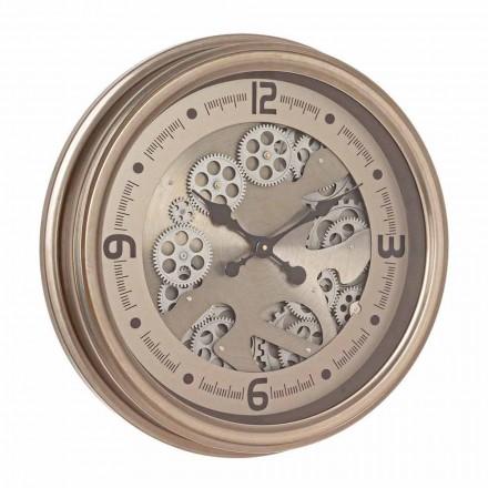 Ceas de perete rotund din oțel și MDF Design clasic Homemotion - Tapiserie