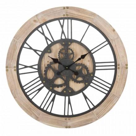 Ceas de perete rotund Diametru 80 cm Design în Fier și MDF - Silva