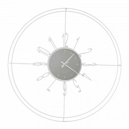 Ceas de perete rotund din fier alb, negru sau bronz Fabricat în Italia - Busolă