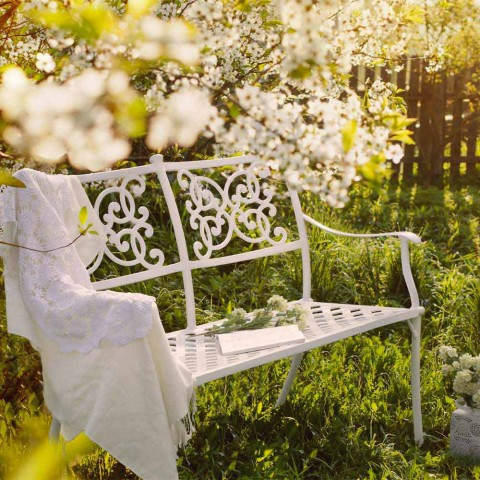 Bancă de grădină stivuibilă din aluminiu alb cu efect lucios - Sama