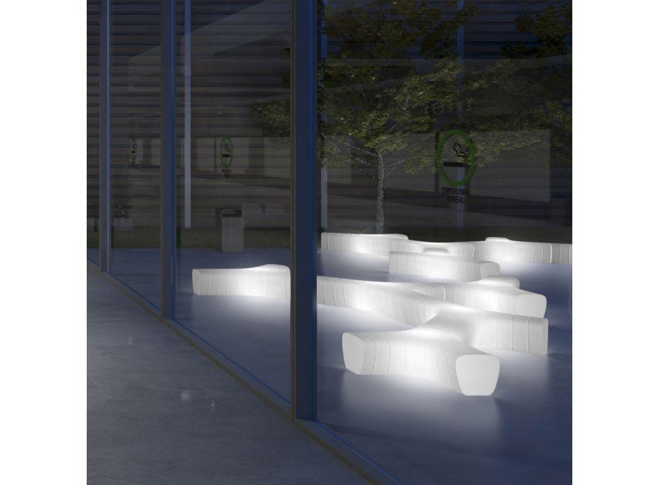 Bancă de grădină luminoasă din polietilenă cu LED Made in Italy - Galatea