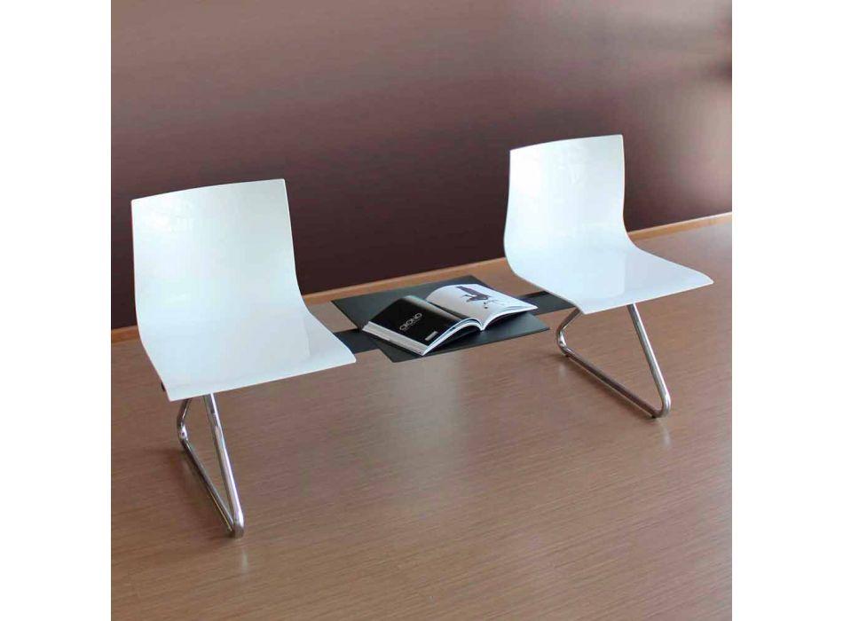 Bancă de birou cu 2 locuri cu măsuță de cafea din oțel și tehnopolimer colorat - Verenza