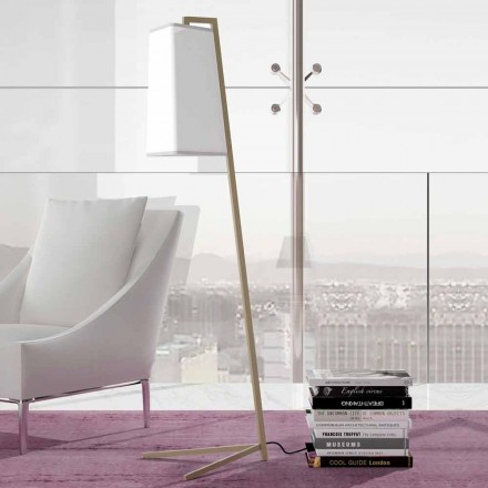 Lampă de podea din metal cu abajur modern din bumbac alb Made in Italy - Barton