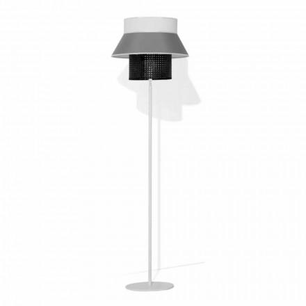 Lampă de podea modernă din metal și abajur din bumbac și ratan Made in Italy - Sailor