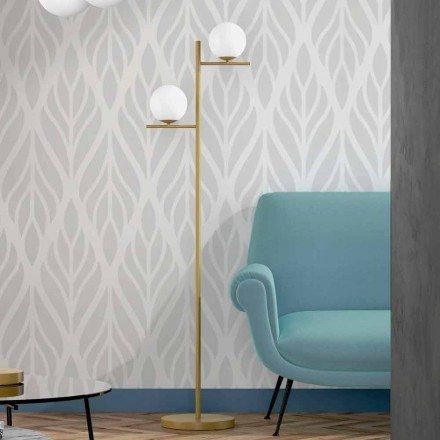 Lampă de podea modernă, finisată din alamă metalică și sticlă opală, fabricată în Italia - Carima