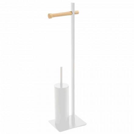 Suport pentru perii de toaletă și hârtie de design în metal și lemn Zelbio