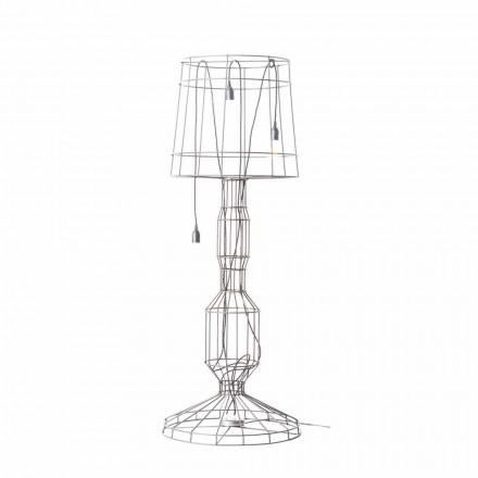 Lampă de podea pentru cameră de zi 3 lumini în stil minimal sau metal alb sau natural - Styling